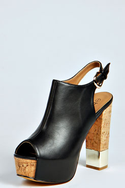 Annie Peep Toe Open Back Cork Platform Heels at boohoo.com