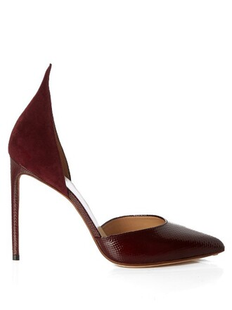 pumps suede burgundy shoes