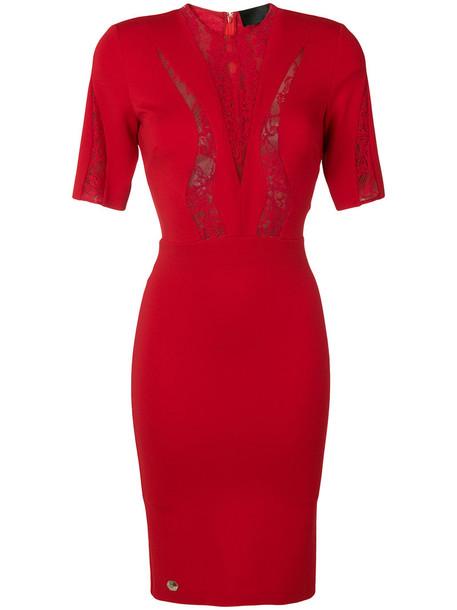 PHILIPP PLEIN dress women spandex lace red