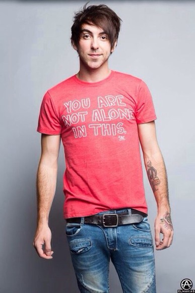 shirt red red shirt t-shirt alex gaskarth all time low atl band t-shirt