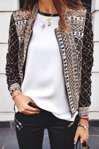 jacket zaful aztec jacket vintage vintage jacket gold gold jacket