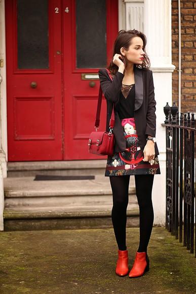 print blogger bag top skirt amoureuse de mode jewels blazer