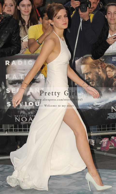 Aliexpress.com : buy emma watson stuns in white backless halter neck off shoulder side slit long mermaid celebrity dress sexy open back celebritygown from reliable dress rihanna suppliers on pretty girl trade co., ltd