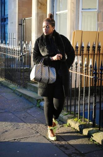 zelda and festus blogger sweater pants coat scarf bag fur scarf