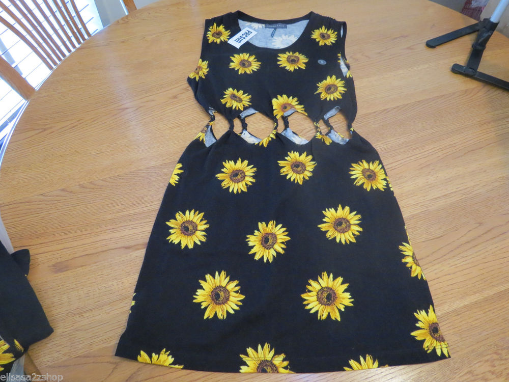 73f45ee04 Kendall Kylie Juniors Womens M Twisted Sunflower Cut Out Dress Sold Out NWT  | eBay