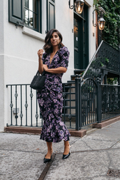 dress,midi dress,v neck dress,floral dress,handbag,asymmetrical pumps,earrings