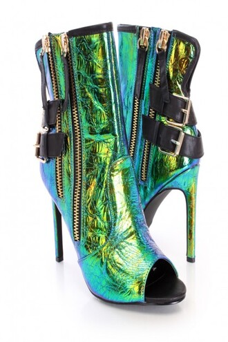 green shoes high heels low heels boots single sole booties amiclubwear open toes