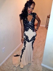 dress,white,nude,prom,black prom dress,pretty,mermaid prom dress,nude dress,flowers,velvet