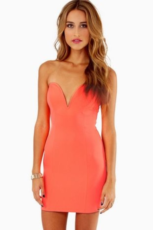 dress orange dress bodycon dress