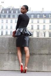 skirt,peplum,peplum skirt,black leather skirt,leather,snake skin,snake print,edgy