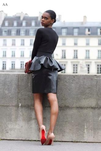 skirt peplum peplum skirt black leather skirt leather snake skin snake print edgy red lime sunday