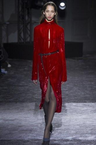 dress red dress slit skirt keyhole dress runway nina ricci midi dress paris fashion week 2016 fashion week 2016 gown sequin dress
