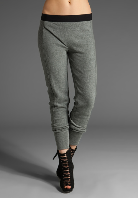 T by alexander wang french rib panelled sweatpants in heather grey at revolve clothing