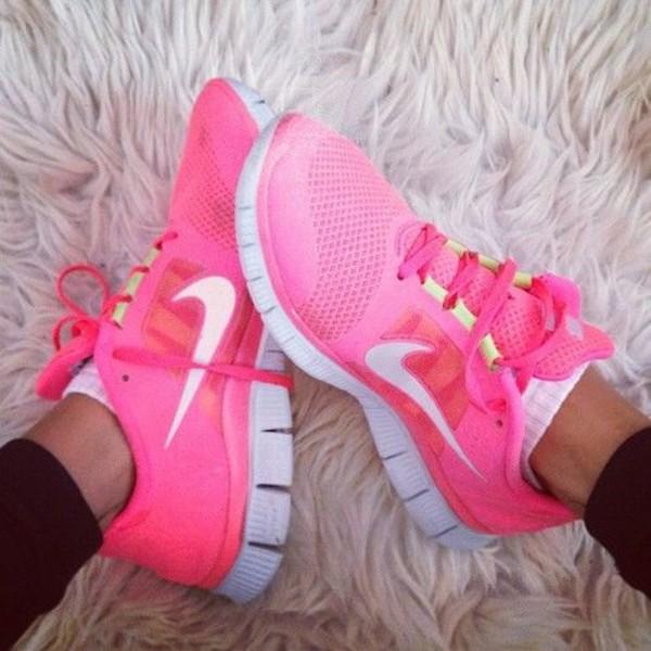 shoes nikes nike free run neon pink nike free neon peach