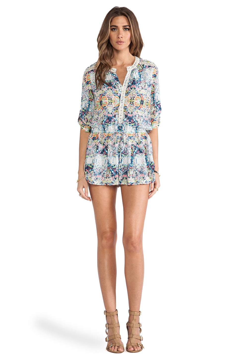 Twelfth Street By Cynthia Vincent Lace Inset Romper in Indian Paisley | REVOLVE