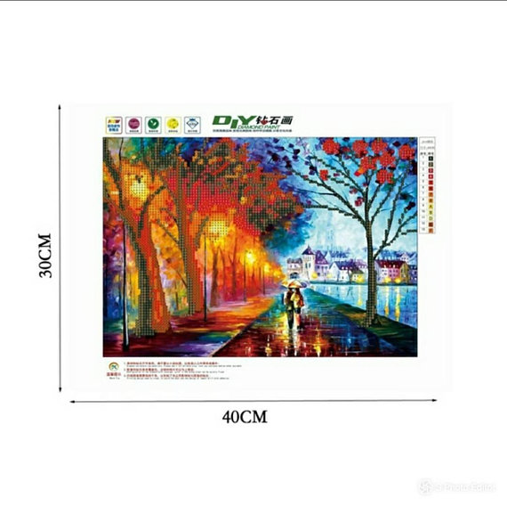 Paint with diamonds kit Paris lights lovers stroll DIY jeweled picture wall hanging art set trending now beautiful artwork