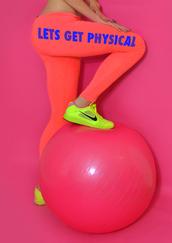 pants,ladies work out clothing,gym,gym clothes,womens gym apparel,gym bunny,leggings,victoria's secret,retro,fitspo,fitspiration,orange leggings,gym bunny leggings