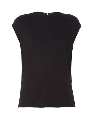 top knit back draped silk navy