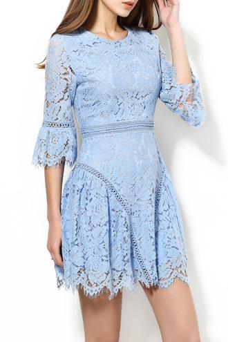 dress lace light blue girly feminine fashion style fancy beautiful dezzal