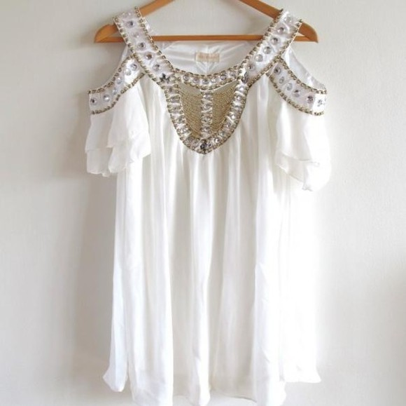 dress white tunic pretty silk crystal beaded crystal beaded white dress nice short dress