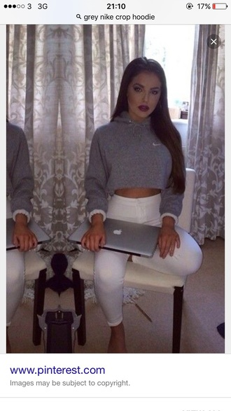 top nike sweater nike grey crop tops hoody white