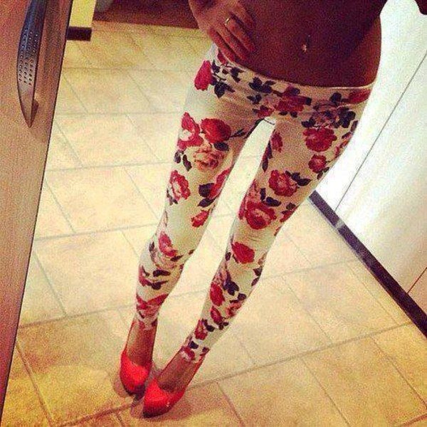 pants floral flowers leggings jeans