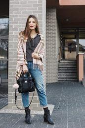 iemmafashion,blogger,poncho,cropped jeans,printed blouse,satchel bag,fur keychain,bag accessories,black bag,handbag,blue jeans,sweater,grey sweater,tartan,plaid,black boots,boots,fall outfits,flat boots