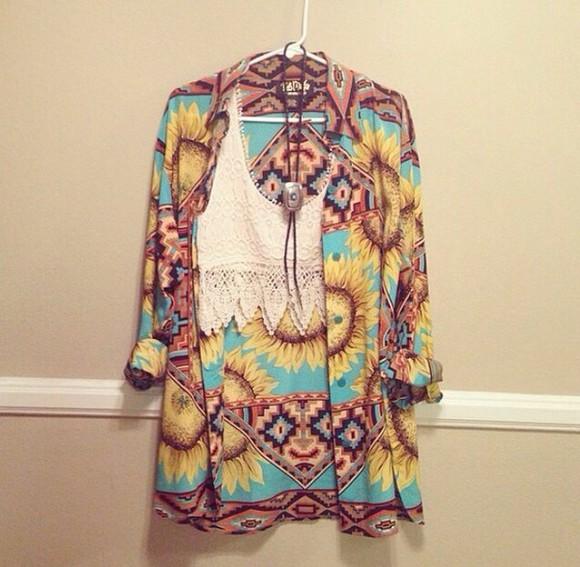 sunflower cardigan hippie top