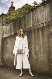 at fashion forte,blogger,jacket,top,pants,jewels,bag,palazzo pants,white pants,wide-leg pants,capri pants,cropped pants,white top,spring outfits,coat,white coat,gucci,gucci bag,dionysus,silver shoes,flats