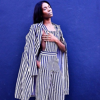 jumpsuit stripes jacket smart style smart party desses