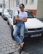shoes,mules,black mules,white top,top,jeans,denim,sunglasses,bag