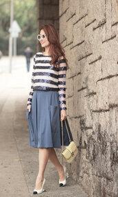 mellow mayo,sunglasses,t-shirt,skirt,bag,shoes,shirt,embellished top