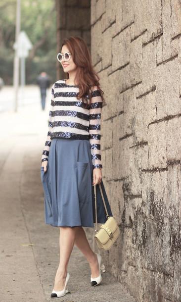 mellow mayo sunglasses t-shirt skirt bag shoes shirt embellished top
