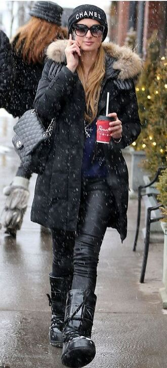 winter jacket paris hilton winter outfits jacket hat