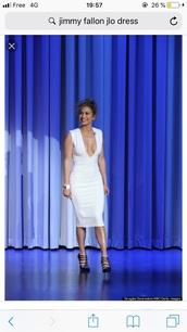 dress,white,white dress,midi dress,j.lo,j-lo,jennifer lopez,plunge v neck,v neck,v neck dress,deep v neck sexy dress,sexy,classy,white midi dress,bodycon dress,bodycon