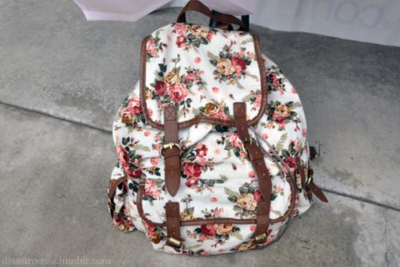 floral vintage bag backpack back to school