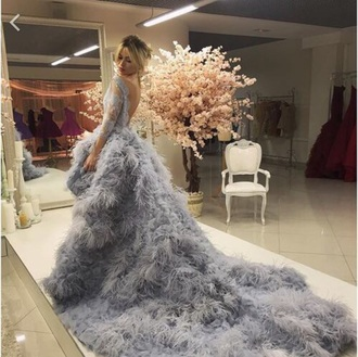 dress grey wedding long fishtail