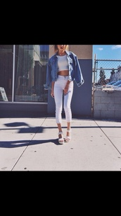 jacket,denim jacket,blue denim,white crop tops,white trousers,high waisted pants,white sandals,pants,shoes,jeans,white jeans