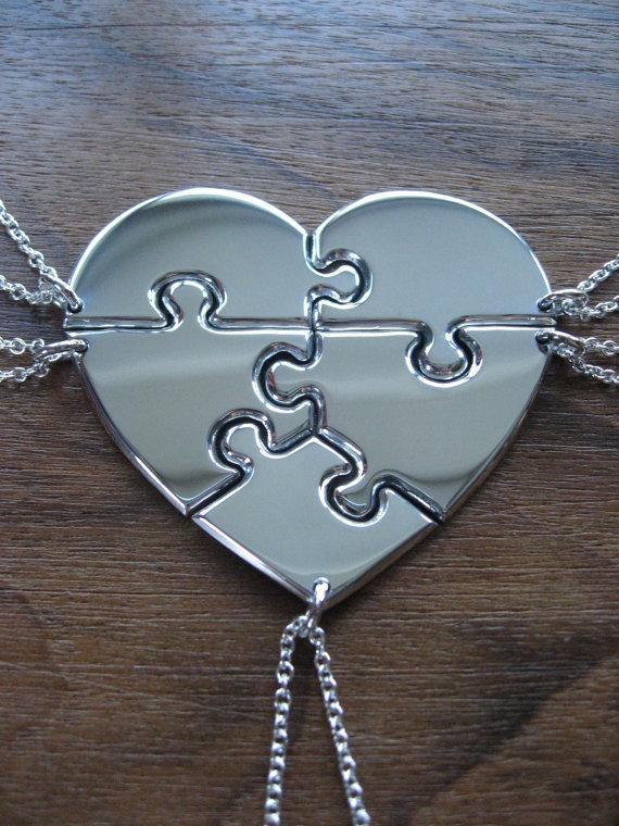 Five piece heart puzzle necklace pendants