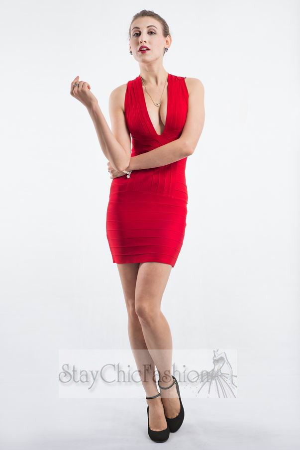 Cheap V Neck Bodycon Dress Red With Back Criss-Cross [V Neck Red Criss-Cross] - $96.00 : Cheap Bodycon Dresses Under $100