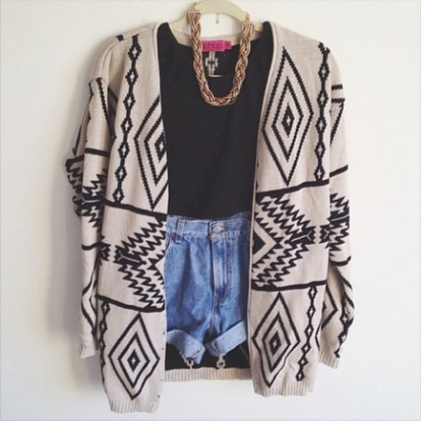 sweater cardigan aztec t-shirt necklace high waisted denim shorts shorts