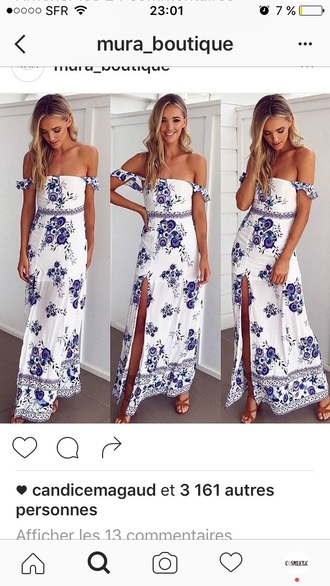 dress off the shoulder dress summer dress maxi dress blue and white