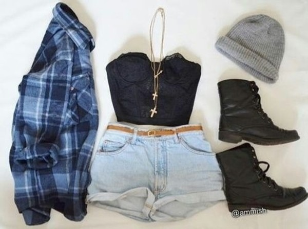 shirt flannel shorts outfit jewels shoes brand store top 90s grunge black top gold necklace black lace bustier bustier crop top outfit summer outfits cute tumblr outfit blouse plaid plaid shirt flannel shirt tumblr boots black boots