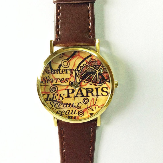 Paris Watch Map Watch Vintage Style Leather Watch by FreeForme
