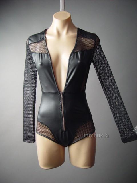 Black Faux Leather Fishnet Low-Cut Cyber Goth Club Top Leotard 106 ac Bodysuit M