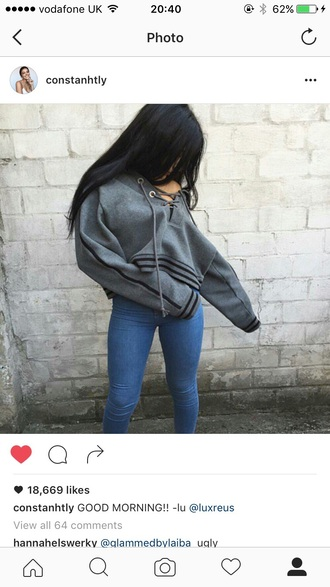 sweater hoodie cropped hoodie grey black grey sweater tumblr sexy style fashion oversized sweater