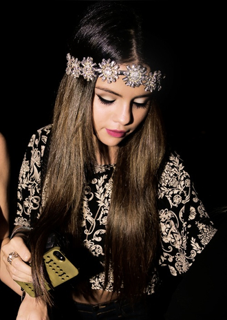 dress jewels selena gomez floral flower crown metal hair accessories headband jewlrey