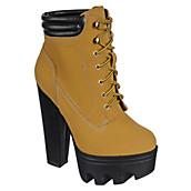 Wild Diva Vive-11 Nubuck Lug Sole Lace-Up Chunky Platform Bootie Heel | Shiekh Shoes