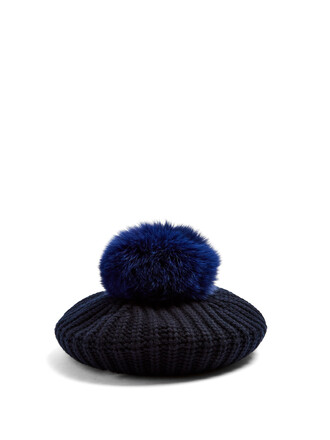 fur beret wool navy hat