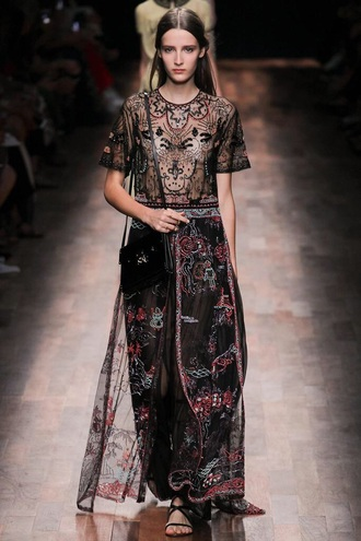 dress valentino ss15 aw15 replica similar black see through floor length dress